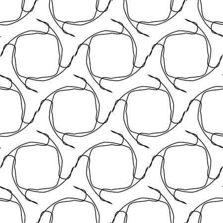 tangle: Black and white geometric seamless pattern with tangle line, abstract background, vector, illustration.