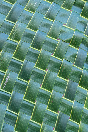 Coconut leaf weave pattern use for background. Abstract background. Stock Photo
