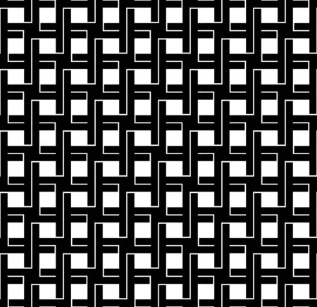 interlace: Black and white geometric seamless pattern with line and interlace style, abstract background, vector, illustration.