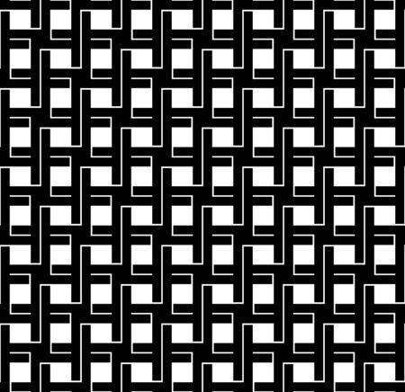 interlace: In bianco e nero geometrico seamless con la linea e lo stile si intrecciano, astratto, vettore, illustrazione. Vettoriali