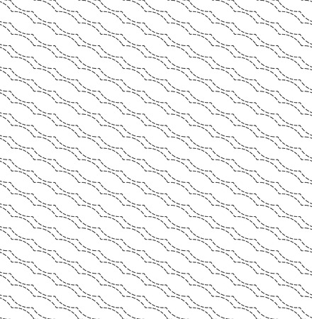 dashed: Black and white geometric seamless pattern with wavy dashed line, abstract background, vector, illustration.