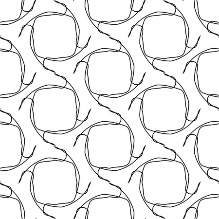groviglio: Black and white geometric seamless pattern with tangle line, abstract background, vector, illustration.