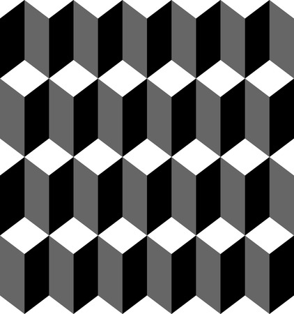 Black and white geometric seamless pattern with trapezoid and diamond, abstract background, vector, illustration.