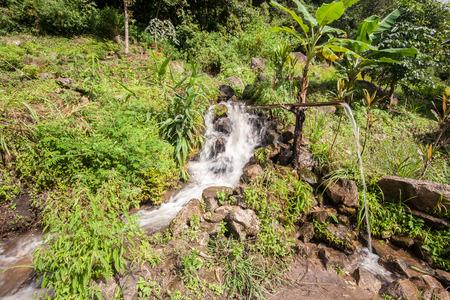 waterleiding: Highland waterwerken. Drinkbak gemaakt van bamboe in hoogland gebied.