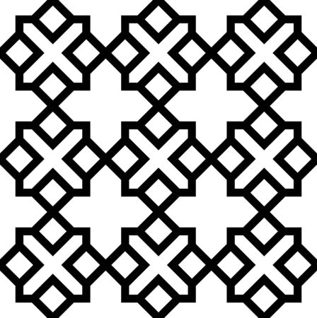 Black and white geometric seamless pattern in arabic stylish. Vector seamless pattern. Abstract background.