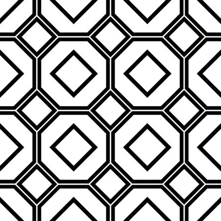 Black and white geometric seamless pattern with line, square and octagon. Abstract background. Vector seamless pattern.