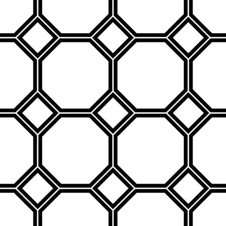 octagon: Black and white geometric seamless pattern with line, square and octagon. Abstract background. Vector seamless pattern.