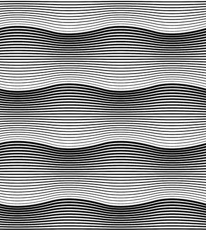 Black and white geometric seamless pattern with wavy line. Abstract background. Vector seamless pattern.