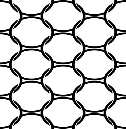 interlace: Black and white geometric seamless pattern with oval. Abstract background. Vector seamless pattern. Illustration