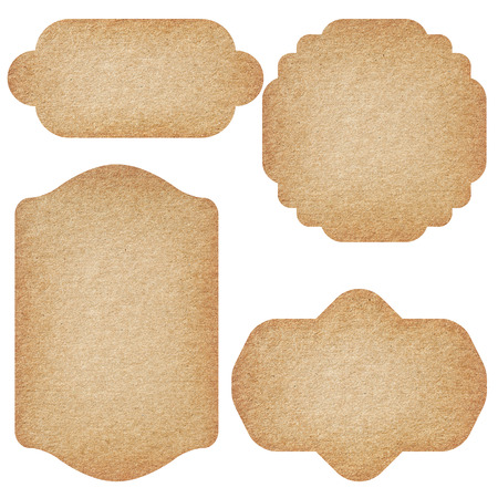 Set of labels from recycled paper isolated on white background. Stockfoto