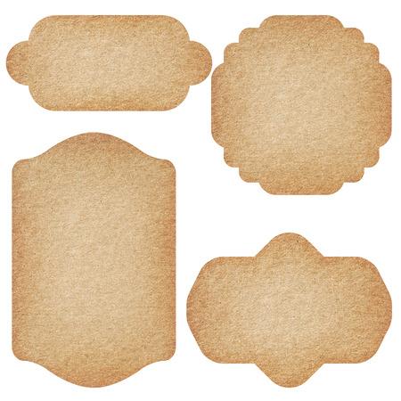 Set d'étiquettes à partir de papier recyclé isolé sur fond blanc. Banque d'images - 39041440