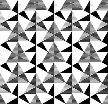 Black and white geometric seamless pattern with line and triangle. Abstract background. Vector seamless pattern. Illustration