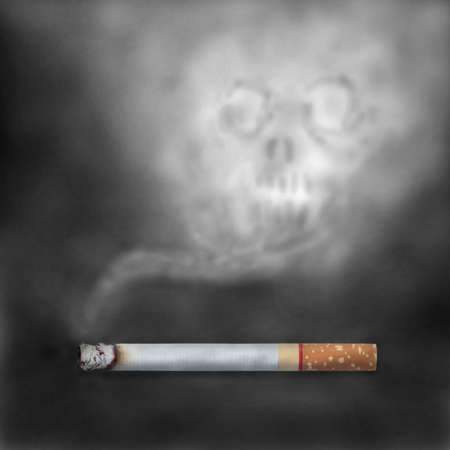 injurious: Burning cigarettes with skull smoke. Smoking is injurious to health concept. Stock Photo
