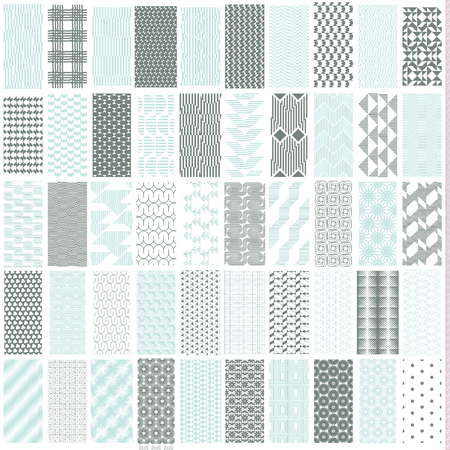 50 geometric seamless pattern set with soft duotone. Abstract background. Vector seamless pattern. Vector