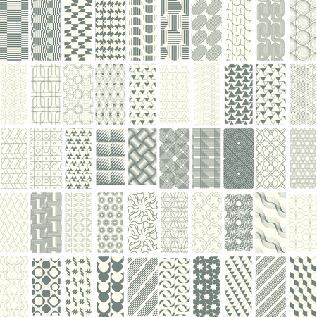 50 geometric seamless pattern set with soft duotone. Abstract background. Vector seamless pattern. Illustration