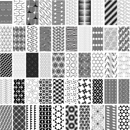 repetition: 50 black and white geometric seamless pattern set. Abstract background. Vector seamless pattern.