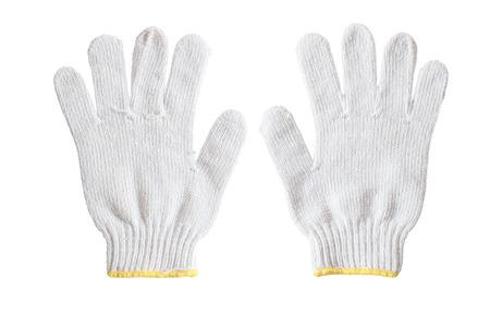 Witte katoenen handschoenen geïsoleerd op een witte achtergrond.