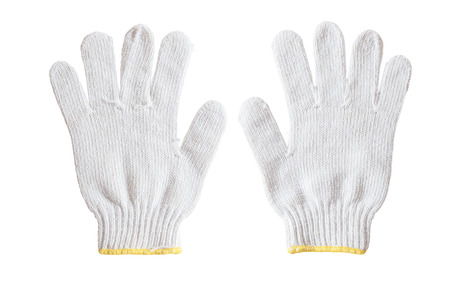 Witte katoenen handschoenen geïsoleerd op een witte achtergrond. Stockfoto - 40567887