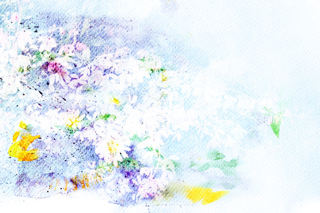 arty: Abstract watercolor illustration of blossom flower. Watercolor painting on paper. Floral watercolor illustration. Stock Photo