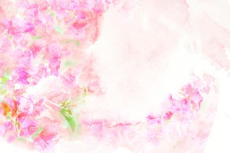 Abstracte aquarel illustratie van bloem bloesem. Aquarel schilderen op papier. Bloemen waterverfillustratie. Stockfoto