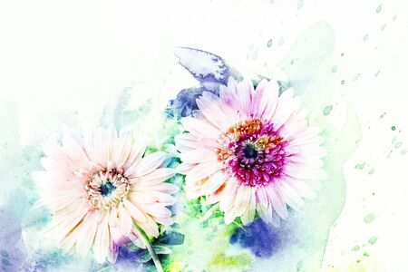 Abstract watercolor illustration of blossom gerbera. Watercolor painting on paper. Floral watercolor illustration.