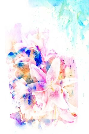watercolor technique: Abstract watercolor illustration of blossom flower. Watercolor painting on paper. Floral watercolor illustration. Stock Photo