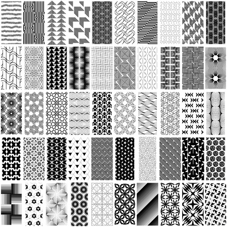 trapezoid: 50 black and white geometric seamless pattern set. Abstract background. Vector seamless pattern.