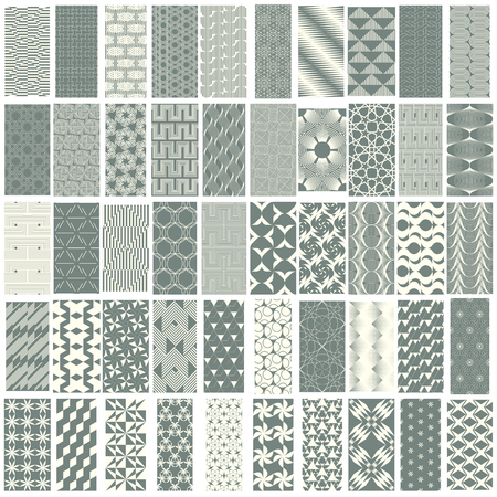 duotone: 50 geometric seamless pattern set with soft duotone. Abstract background. Vector seamless pattern. Illustration