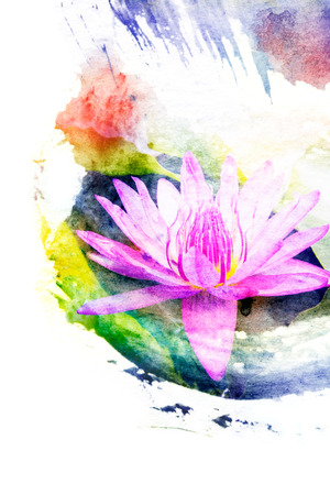 Watercolor illustration of blossom purple lotus painted on paper Banco de Imagens