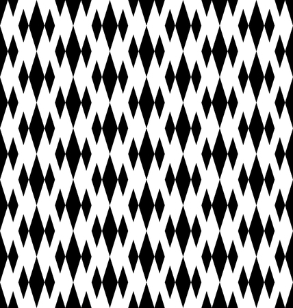 Black and white geometric seamless pattern with diamond. Abstract background. Vector seamless pattern. Illustration