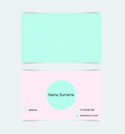 green card: Business card template with simple pattern background. Vector illustration.