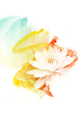 Abstract watercolor illustration of blossom flower. Watercolor painting on paper. Floral watercolor illustration. 版權商用圖片