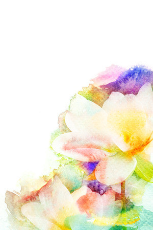 flower petals: Abstract watercolor illustration of blossom flower. Watercolor painting on paper. Floral watercolor illustration. Stock Photo