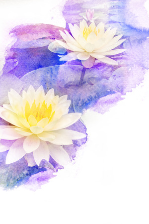 purple lotus: Abstract watercolor illustration of blossom flower. Watercolor painting on paper. Floral watercolor illustration. Stock Photo