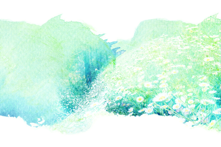 꽃 꽃의 추상 수채화 그림입니다. 종이에 수채화 그림. 꽃 수채화 그림. 스톡 콘텐츠