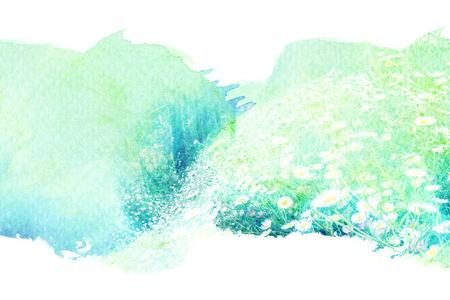 Abstrakt Aquarell Illustration der Blüte Blume. Aquarellmalerei auf Papier. Blumenaquarellillustration. Standard-Bild - 47417668
