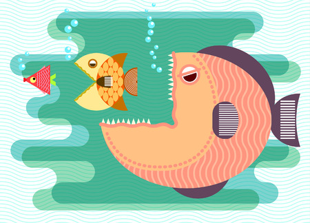 concept background: Big fish eat small fish. Business concept. Vector illustration.