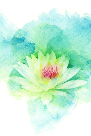 Abstract watercolor illustration of blossom flower. Watercolor painting on paper. Floral watercolor illustration. Standard-Bild
