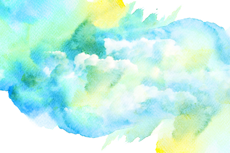 colorful paint: Abstract watercolor illustration of cloud. Watercolor painting on paper. Watercolor illustration of sky. Abstract background.