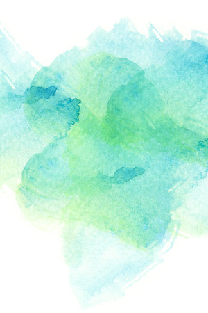 blue and green: Abstract watercolor brush stroke illustration. Watercolor painting on paper. Abstract background. Stock Photo