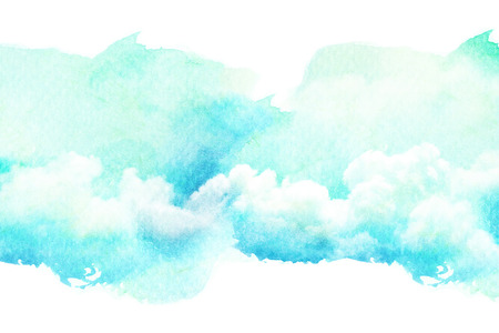 and turquoise: Abstract watercolor illustration of cloud. Watercolor painting on paper. Watercolor illustration of sky. Abstract background.