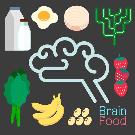 Brain food infographic flat design elements. Vector illustration.