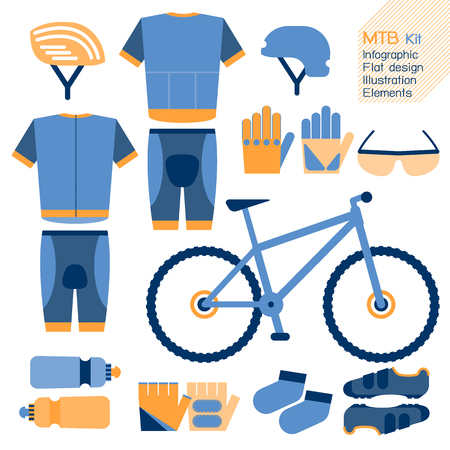 safety equipment: Mountain bike kit  infographic flat design element. Vector illustration.
