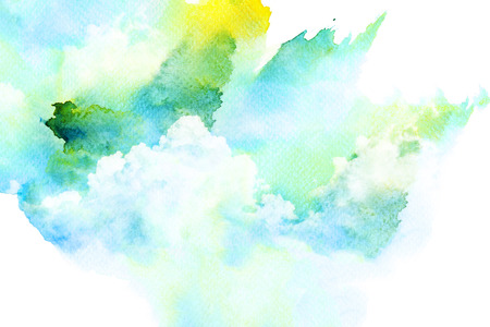 watercolor technique: Abstract watercolor illustration of cloud. Watercolor painting on paper. Watercolor illustration of sky. Abstract background.