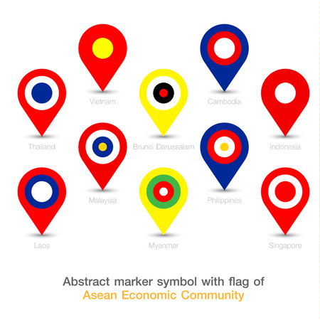 aec: Abstract marker symbol with flag of AEC. Vector illustration. Illustration