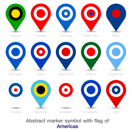 Abstract marker symbol with flag of Americas. Vector illustration.