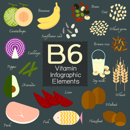 brown rice: Vitamin B6 infographic flat design element. Vector illustration.