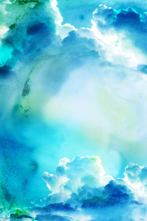 paper art: Abstract watercolor illustration of cloud.