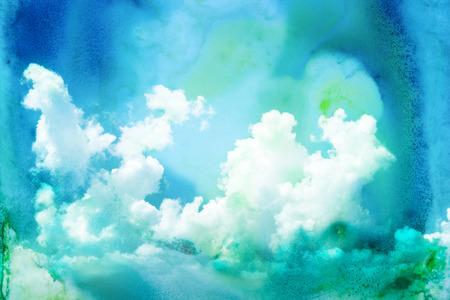 pintura abstracta: Ejemplo de la acuarela abstracta de la nube. Pintura de la acuarela en el papel. Ilustraci�n de la acuarela del cielo. Resumen de antecedentes.