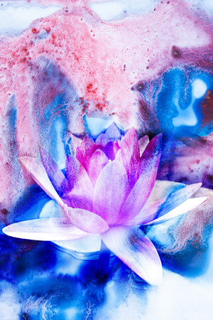 Abstract watercolor illustration of blossom lotus. Watercolor painting. Floral watercolor illustration. Stock Photo